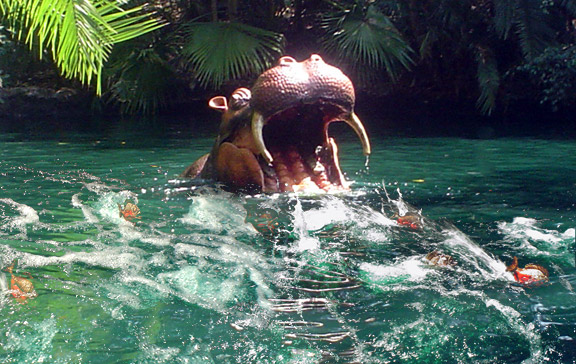Animatronic hippo being devoured on Disneyland's Jungle Cruise attraction