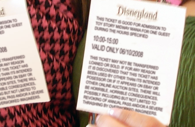 Toy Story Midway Mania ticket detail