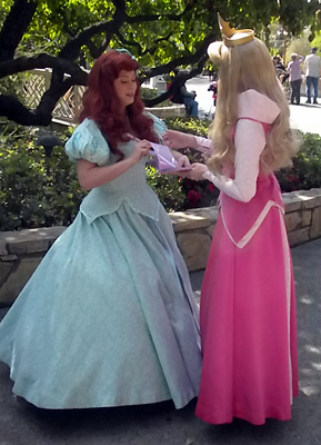 Ariel asks Aurora for his autograph at Disneyland