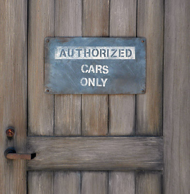 "Cars Land ""Cars Only"" sign"
