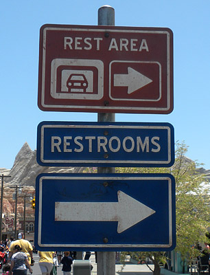 Signs for Cars Land restrooms