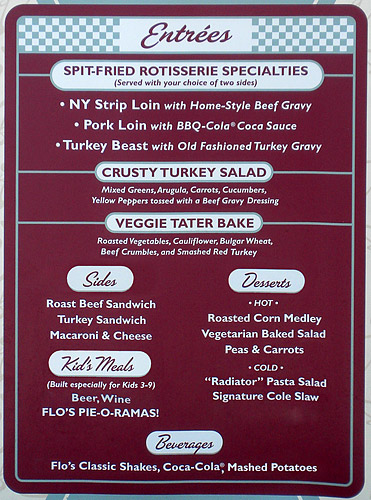 Flo's V8 Cafe menu