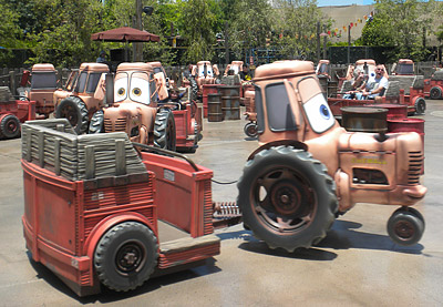 A herd of attraction vehicles