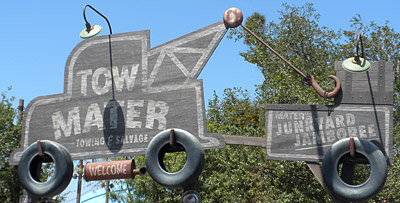 Mater's Junkyard Jamboree signage