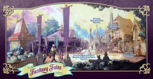 Annotated Disneyland Fantasy Faire (click to enlarge)