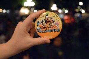 "Disneyland ""vaccinated"" button"